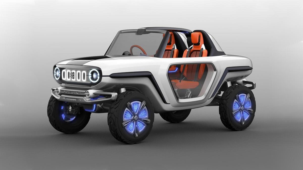 Suzuki E-Survivor  Zdejmowany dach i okrągłe reflektory to charakterystyczne cechy nowego konceptu Suzuki. Pojazd można traktować jako zapowiedź stylistyki, którą będą cechować się w przyszłości samochody Suzuki.  Fot. Suzuki