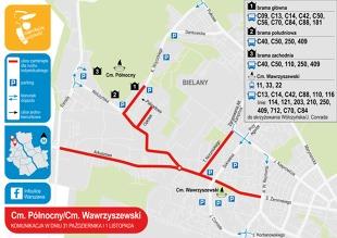 W sobotę, 31 października, oraz w dniu Wszystkich Świętych zmieni się organizacja ruchu w pobliżu warszawskich cmentarzy. Priorytet będzie miała komunikacja miejska, a część ulic zostanie zamieniona w parkingi.Fot. ZDM Warszawa