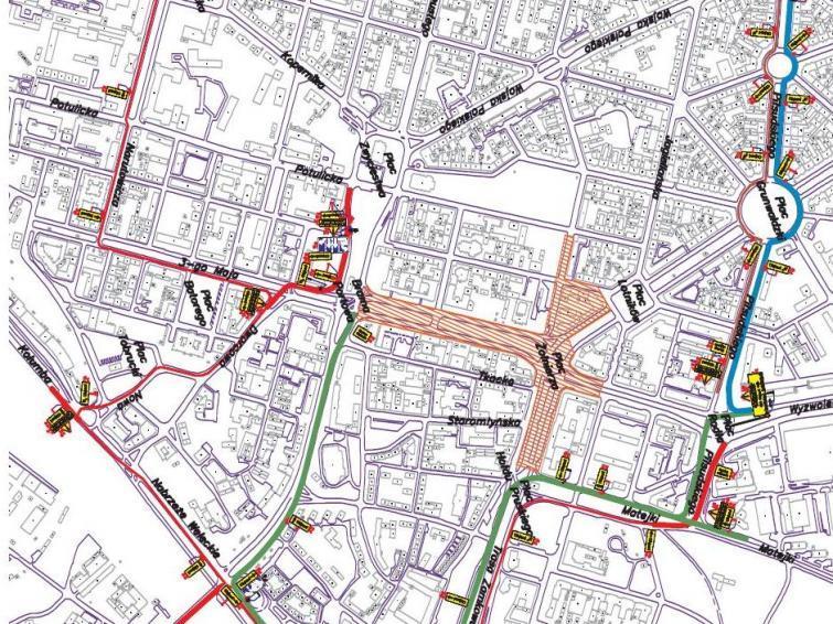Plac Żołnierza. Mapa objazdów