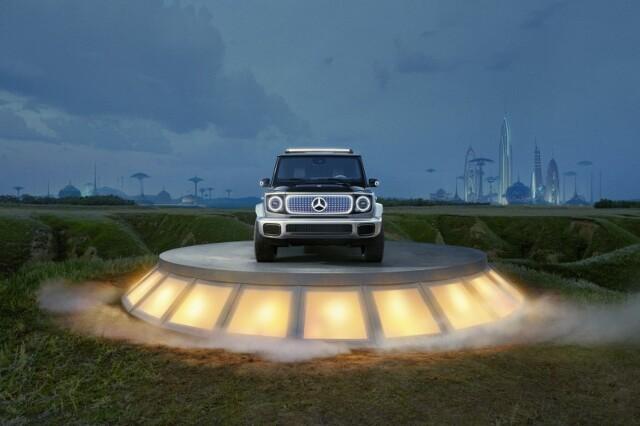 Mercedes EQG.  Mercedes-Benz prezentuje Concept EQG – zbliżone do produkcji studium całkowicie elektrycznego wariantu swojej wszechstronnej terenowej ikony. Wizualnie koncepcyjny model łączy w sobie charakterystyczny wygląd Klasy G z kontrastującymi elementami typowymi dla w 100% elektrycznych Mercedesów.   Fot. Mercedes-Benz