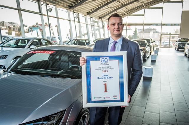 Największym oczekiwaniem wobec tegorocznej listy była odpowiedź na pytanie czy poznańska Grupa Krotoski-Cichy, autoryzowany diler Volkswagena i Audi utrzyma zdobytą w ubiegłym roku pierwszą lokatę.  Udało się nie tylko obronić pozycję lidera, ale również osiągnąć najwyższą sprzedaż nowych aut w 2015 roku / Fot. Krotoski-Cichy