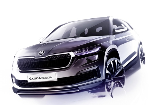 Skoda Kodiaq   Kodiaq to największy SUV w portfolio Skody. Nowy, jeszcze bardziej stylowy i wykorzystujący najnowsze technologie Kodiaq, będzie świętował swoją światową premierę 13 kwietnia 2021 roku. Samochód pojawi się w europejskich salonach latem bieżącego roku.  Fot. Skoda