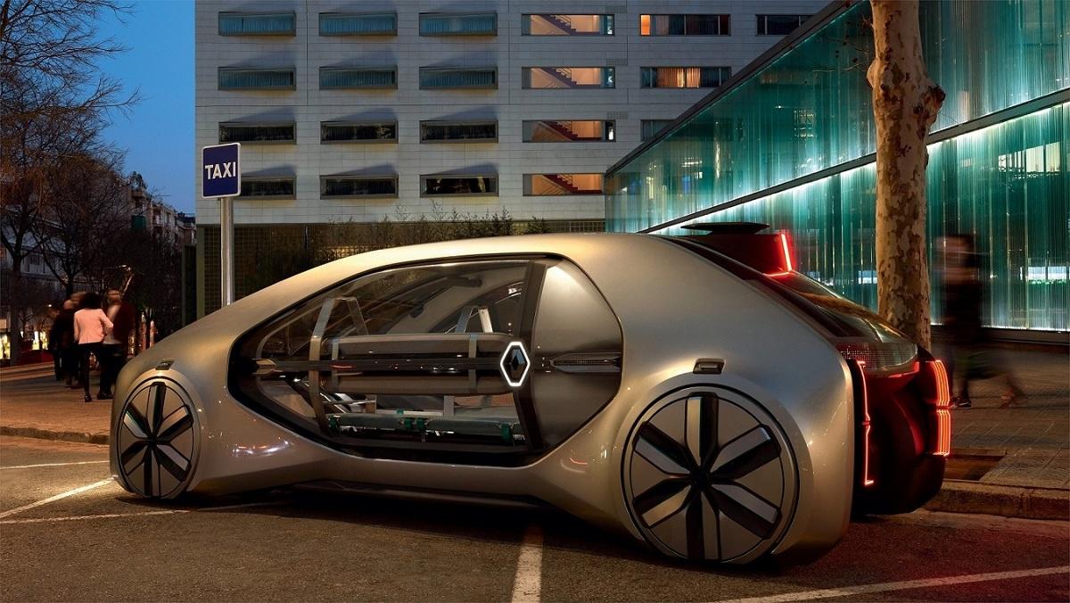 Renault EZ-GO to pierwszy współdzielony pojazd autonomiczny z napędem elektrycznym zaprojektowany do indywidualnego przewozu lub transportu małych grup.  Fot. Renault