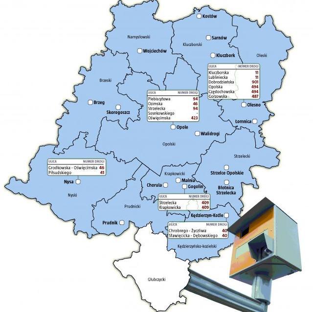 Mapa fotoradarów w województwie opolskim