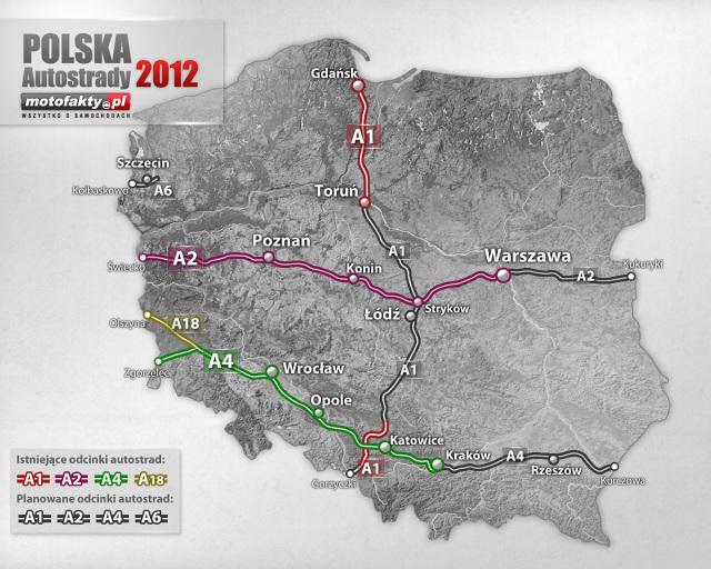 Mapa Platnych Autostrad W Polsce W 2012 Roku