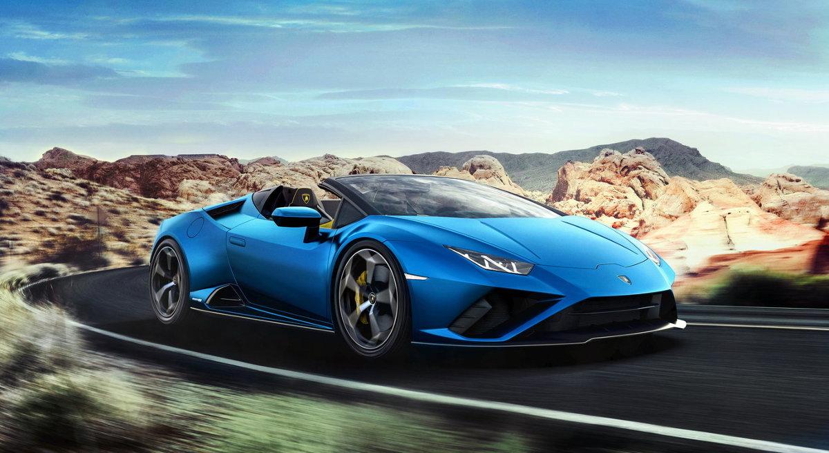Lamborghini Huracan Evo RWD Spyder  Lamborghini Huracan Evo RWD Spyder waży 1509 kg i wyróżnia się rozkładem mas w stosunku 40/60 proc. pomiędzy przednią, a tylną osią.  Fot. Lamborghini