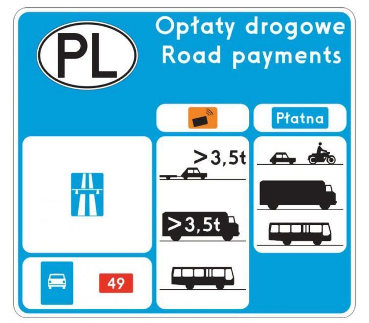 Zobacz nowy znak z informacją o opłatach drogowych