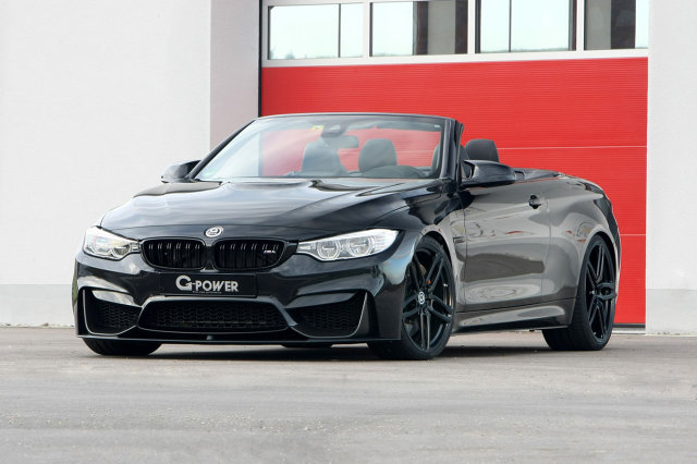 BMW M4 Convertible  Układ Bi-Tronik 2 V1-ECU pozwala osiągnąć 520 KM i 700 Nm. Może jednak się okazać, że nie każdemu to wystarczy, dlatego przewidziano również drugi poziom modyfikacji.   Fot. G-Power