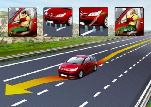 Fot. Citroen: Urządzenie sygnalizuje niezamierzoną zmianę pasa ruchu. Może to się zdarzyć, gdy kierowca jest zmęczony.