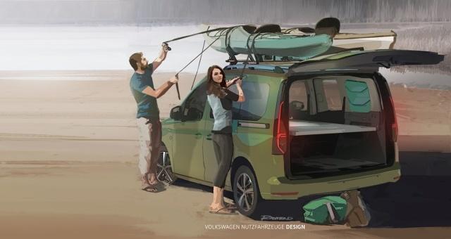 Volkswagen Samochody Dostawcze prezentuje pierwsze rysunki i informacje na temat modelu będącego następcą Caddy Beach. Mini-kamper bazuje na nowym modelu – Caddy 5.  Fot. Volkswagen
