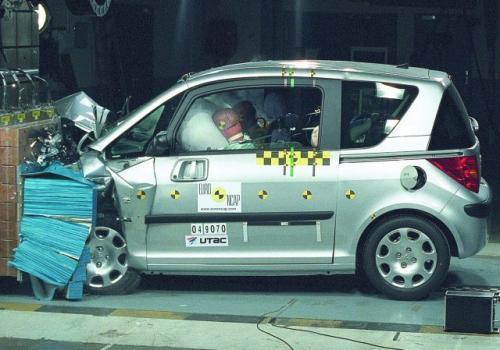 Fot. Euro NCAP: Peugeot 1007 zdobył w testach Euro NCAP pięć gwiazdek za bezpieczeństwo podróżnych. Przyznano mu jednak tylko dwie gwiazdki w dziedzinie bezpieczeństwo pieszych.