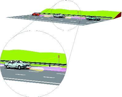 Infografika BAE Systems: Wiązki radarowe, wykorzystując ustawione na poboczu radionadajniki, informują kierowcę o położeniu i ruchach innych samochodów