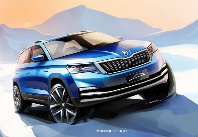 Skoda opublikowała pierwsze szkice swojego nowego modelu. Trzeci SUV marki swoją premierę będzie świętował jeszcze w tym miesiącu tuż przed rozpoczęciem tegorocznej edycji targów motoryzacyjnych w Pekinie.  Fot. Skoda