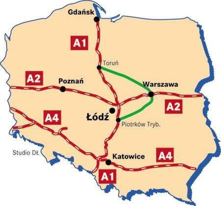 """Fot. Dziennik Łódzki: """"Poprawiona"""" A1 miałaby przebiegać, tak jak pokazuje zielona linia"""