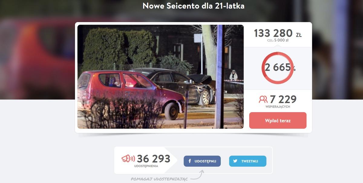 Sprawdziliśmy, jaki samochód będzie mógł sobie kupić kierowca, który w ubiegły piątek uczestniczył w kolizji z limuzyną wiozącą premier Beatę Szydło. Internauci cały czas zbierają dla niego pieniądze.  Fot. Print screen https://pomagam.pl/NowySeicento