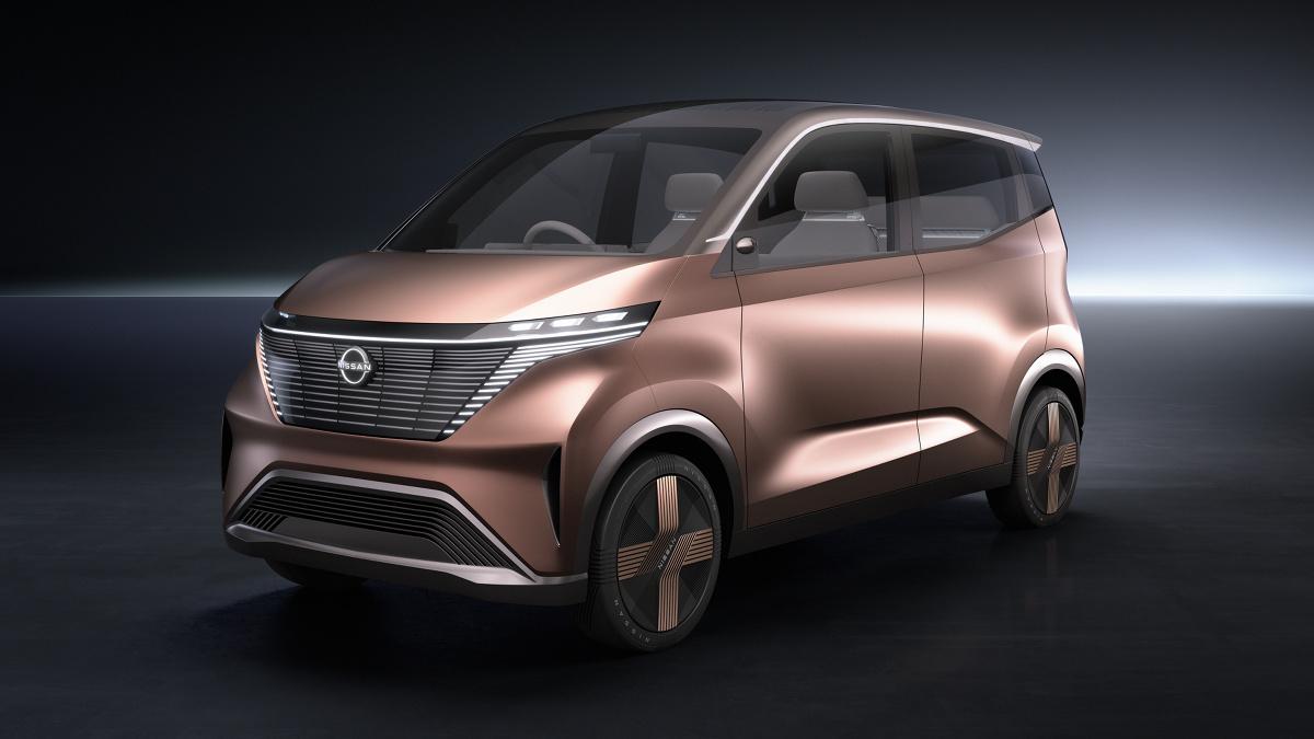 Nissan IMk.  100‑procentowo elektryczny IMk jest zapowiedzią nowego kierunku we wzornictwie Nissana oraz tego, jak marka zamierza kontynuować wdrażanie idei Nissan Intelligent Mobility – czyli swojej wizji dotyczącej sposobów zasilania pojazdów, ich prowadzenia oraz integracji ze społeczeństwem.  Fot. Nissan