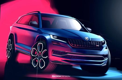 Skoda Kodiaq RS   Pierwszy SUV w odmianie RS, charakterystycznej dla sportowych samochodów Skody, zadebiutuje w październiku, podczas salonu samochodowego.   Fot. Skoda