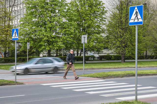 Należy przechodzić przez jezdnię w miejscach oznaczonych pasami, czyli tzw. zebrą – wyjątek, gdy odległość od przejścia dla pieszych przekracza 100 metrów.   Fot. Anna Kaczmarz