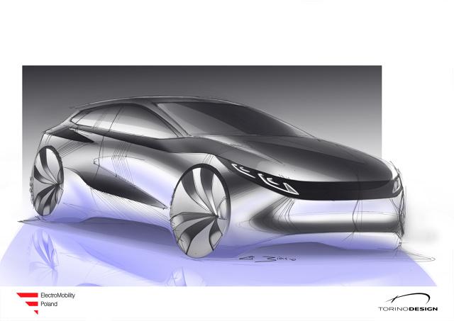 Spółka ElectroMobility Poland pod koniec lipca zaprezentuje prototypy pierwszego polskiego samochodu elektrycznego. Auto ma mieć zasięg minimum 300 km, a nad jego designem pracowało włoskie studio znane z projektów m.in. dla BMW i Ferrari.   Fot. Torino Design,