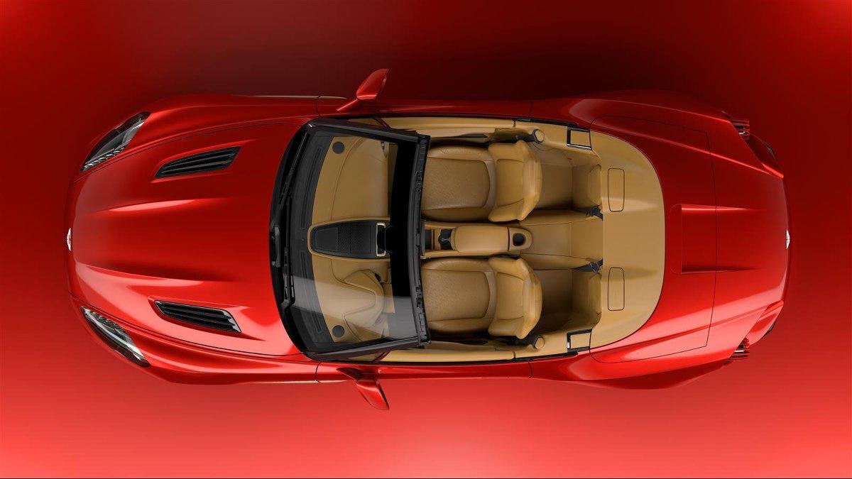 Aston Martin Vanquish Zagato Volante  Za napęd odpowiada 5,94 litrowy silnik dwunastocylindrowy o mocy 592 KM. Dzięki niemu sprint do 100 km/h zajmuje 3,7 s. To o 0,2 sekundy wolniej od wersji coupe.  Fot. Aston Martin