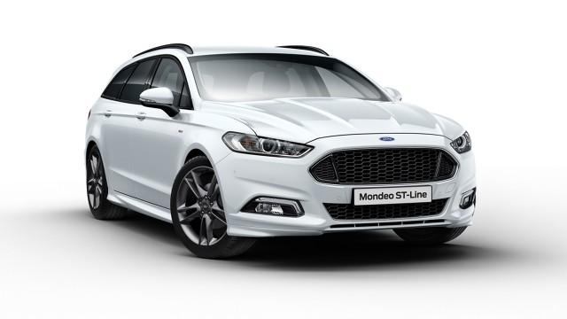 Ford Mondeo w wersji ST-Line  Wersja ST-Line to pakiet stylistycznych, sportowych poprawek. Ford Mondeo w wersji ST-Line zyskał przemodelowane zderzaki, ciemniejszy grill oraz nowe felgi.   Fot. Ford