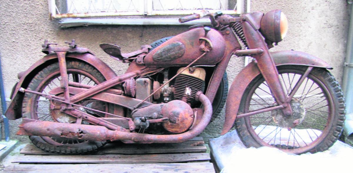 Muzealne DKW NZ 350 zostanie zachowane w takim stanie, w jakim odnaleziono je po 69 latach Fot: Muzeum Wojny Światowej