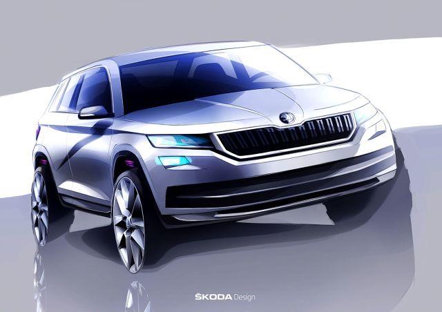 Skoda Kodiaq   Producent pokazał jak nowy SUV o nazwie Kodiaq prezentuje się na pierwszych szkicach. Wersja produkcyjna auta ma zadebiutować we wrześniu.   Fot. Skoda