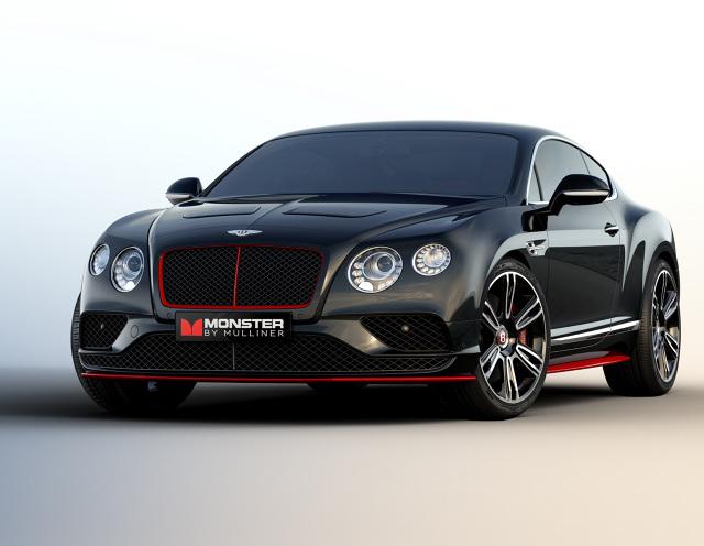 Bentley Continental GT Monster by Mulliner  W prezentowanym w USA samochodzie ani osiągi, ani jakość wykonania nie są najważniejsze. Na pokład egzemplarza nazwanego Monster by Mulliner trafił najwyższej próby system audio. Składa się z 16 głośników firmy Monster o łącznej mocy 3400 W.    Fot. Bentley