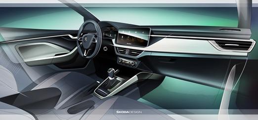 Skoda Scala   Rozstaw osi nowego modelu wynosi 2,649 mm, przestrzeń na kolana dla pasażerów siedzących na tylnej kanapie 73 mm, natomiast wolne miejsce nad głową to aż 982 mm. Scala posiada także największy bagażnik dla samochodów w tym segmencie – jego pojemność to 467 l. Po złożeniu tylnych siedzeń przestrzeń ta zwiększa się do 1,410 l.  Fot. Skoda