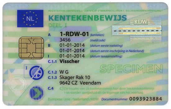 Wzór nowego holenderskiego dowodu rejestracyjnego / Fot. Ministerstwo Infrastruktury i Rozwoju