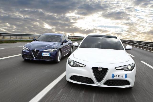 Alfa Romeo Giulia   Dla wersji wyposażenia Giulia i Giulia Superdostępna jest jednostka turbo. Auto z silnikiem benzynowym 2.0 o mocy 200 KM współpracującym z 8-stopniową skrzynią automatyczną oraz napędem na tylną oś kosztuje od 149 000 zł.  Fot. Alfa Romeo