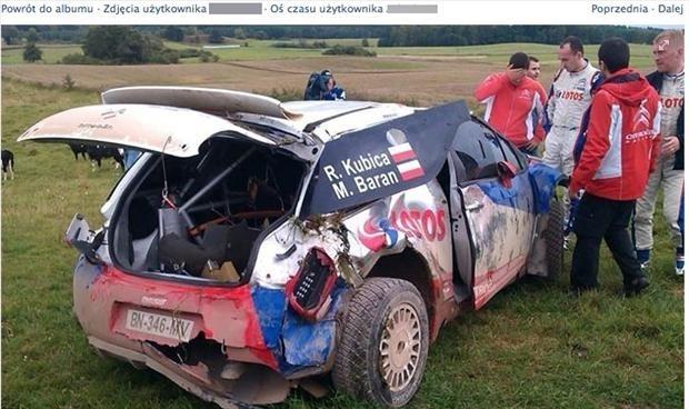 Samochód Roberta Kubicy po wypadku  Fot. Facebook